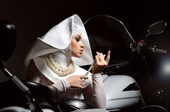 Fashion glamor stylish woman in sister of Mercy nun Royalty Free Stock Image
