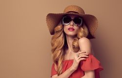 Fashion Glamour Beautiful Glamour Lady. Vintage. Fashion Art Studio Portrait Glamour Beautiful Blond Lady. Hairstyle, Luxury Trendy Sunglasses. Sensual Woman in Royalty Free Stock Photos