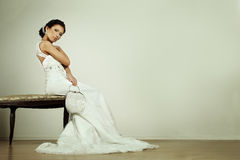 Fashion glamour bride in evening gown Royalty Free Stock Photography