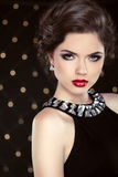 Fashion glamour elegant woman portrait with red lips Royalty Free Stock Images