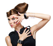 Fashion glamour girl with creative hairstyle. White background royalty free stock photography