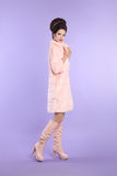 Fashion glamour lady, fashionable woman in pink coat with elegan Stock Photography