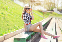 Fashion glamour pretty blonde outdoors Royalty Free Stock Images