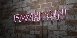 FASHION - Glowing Neon Sign on stonework wall - 3D rendered royalty free stock illustration. Can be used for online banner ads and direct mailers Royalty Free Stock Photography