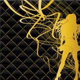 Fashion gold girl. On black and golden background Stock Photos