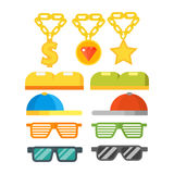 Fashion gold jewelry sunglasses retro accessory vintage plastic frame eyeglasses vector illustration. Stock Photography