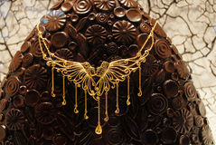 Fashion gorgeous gold necklace Stock Photos