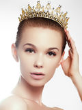Fashion gorgeous woman in diamond crown, beauty contest winner. Luxury girl with bright makeup. Elegant fashionable lady in studio, vogue style female. Fashion Stock Images