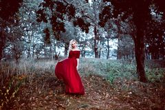 Fashion gorgeous young blonde woman in beautiful red dress in a fairy-tale forest. magic atmosphere. Retouched toning shot. Fashion gorgeous young blonde woman royalty free stock image