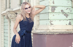 A fashion gothic style portrait of a beautiful blonde girl Stock Photo