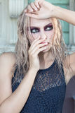 A fashion gothic style portrait of a beautiful blonde girl Royalty Free Stock Images