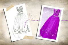 Fashion gown sketch with needle. Sketch of gown with finished product and needle on textured background Royalty Free Stock Photos