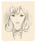 Fashion graphic portrait of a young woman Royalty Free Stock Images