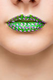 Fashion Green Sexy Lips and Closeup. Make up Royalty Free Stock Images