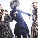 Fashion Group of beautiful young women.  stock photography