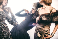 Fashion Group of beautiful young women.  royalty free stock photos
