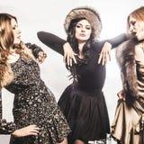Fashion Group of beautiful young women.  stock image