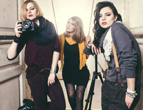 Fashion Group of beautiful young women.  stock photo