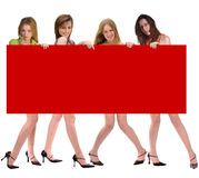 Fashion Group with Billboard Royalty Free Stock Photography