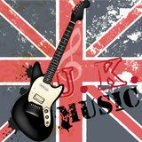 Fashion grunge  music background with bass guitar and British fl Stock Photo