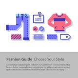 Wardrobe set, fashion guide, complementary clothing, casual wear, color choice, good outfit combination. Fashion guide, complementary clothing, casual wear Stock Images
