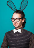 Fashion guy in bunny ears Royalty Free Stock Photo