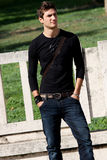 Fashion guy cool model outdoor stock images