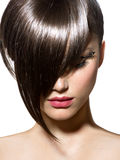Fashion Haircut. Hairstyle. Stylish Fringe royalty free stock photography