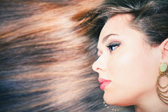 Fashion hairstyle. Beautiful woman with long straight hair. Barbershop. Healthy shampoo. Volume. Beauty. Hair keratin straightening, coloring Royalty Free Stock Photos