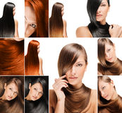 Fashion hairstyle collage Royalty Free Stock Images