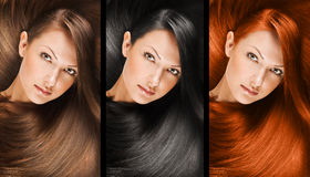 Fashion hairstyle collage Stock Images