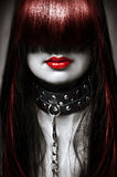 Fashion hairstyle and make up. Black white and red fashion portrait of young beautiful female model. Glamour woman with long hair and hairstyle. Lady with royalty free stock image