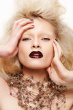 Fashion Halloween Looking. Model With Dark Lips Royalty Free Stock Photography
