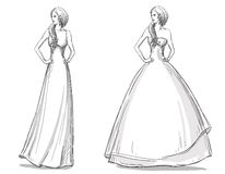 Fashion hand drawn illustration. Long dress. Bride Royalty Free Stock Photos