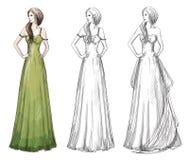 Fashion hand drawn illustration. Long dress. Royalty Free Stock Photo