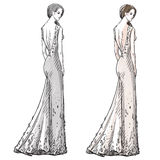 Fashion hand drawn illustration. Long dress. Royalty Free Stock Photography