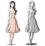Fashion hand drawn illustration. Prom dress. Royalty Free Stock Photo