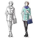 Fashion hand drawn illustration. street fashion. Stock Image