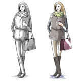 Fashion hand drawn illustration. street fashion. Royalty Free Stock Photos