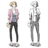Fashion hand drawn illustration. street fashion. Stock Photography
