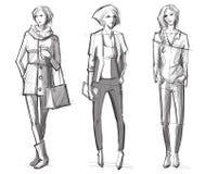 Fashion hand drawn illustration.street fashion. Stock Images