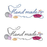 Fashion hand made banner. Needle with thread hand made. Sewing accessories an buttons on white background. Vector illustration Stock Images