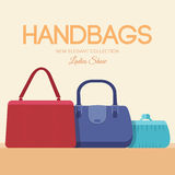 Fashion handbags and bags in flat illustration Royalty Free Stock Photography