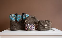 Fashion textile female handbags Royalty Free Stock Images