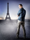 Fashion handsome man in Paris, France Royalty Free Stock Photos
