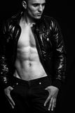 Fashion - handsome sexy man with nice abdomen Stock Image