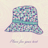 Fashion hat made of triangles fabric, I love summer hat. Stock Image