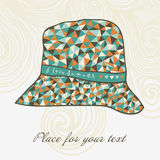 Fashion hat made of triangles fabric, I love summer hat. Stock Photos
