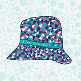 Fashion hat made of triangles fabric, I love summer hat. Royalty Free Stock Photos