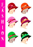 Fashion hats. Fashionable women's hats  sign, logo illustration Stock Photos
